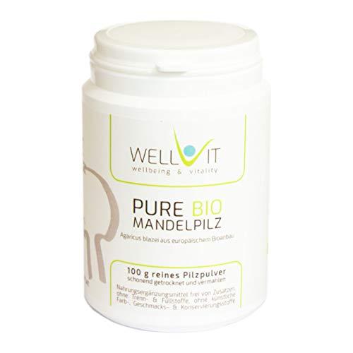 Pure Bio Mandelpilz 100g ABM Agaricus blazei Vitalpilzpulver aus EU-Bio-Landwirtschaft, vegan, ohne künstliche Zusatzstoffe