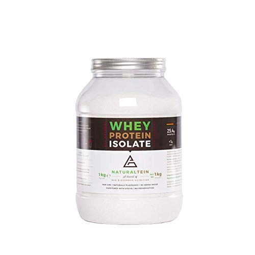 Naturaltein Whey Protein Isolate Eiweißpulver Muskelaufbau I Premium Natural Protein Powder Ohne Zusatzstoffe I hochwertiges Whey Isolate ohne Gentechnik I natürlicher Geschmack I Erdbeere 1000g
