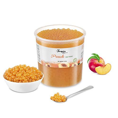 ORIGINAL POPPING BOBA für Bubble tea, Pfirsich, 3.2kg Eimer, Ohne künstliche Farbstoffen, echten Fruchtsäfte, weniger Zucker, 100% VEGAN und GLUTENFREI