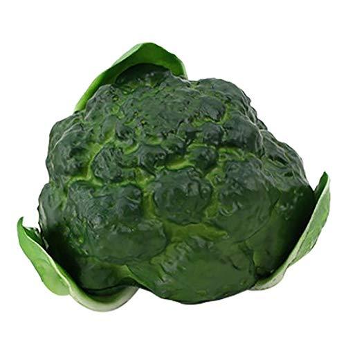 Unbekannt Llzpl Realistisches realistisches Blumenkohl-Kunstlebensmittelhauptdekor-Gemüsegrün des künstlichen Gemüses