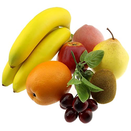 Gresorth Künstliche Birne Apfel Banane Pfirsich Kiwi Orange Kirsche Dekoration Fälschen Früchte