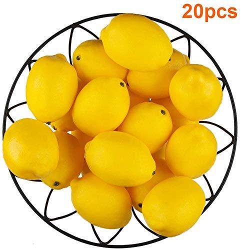 """Kyrieval 20 Stück künstliche Zitronen gefälschte Zitronen künstliche Zitronen Früchte in Gelb 3""""lang x 2"""" breit"""