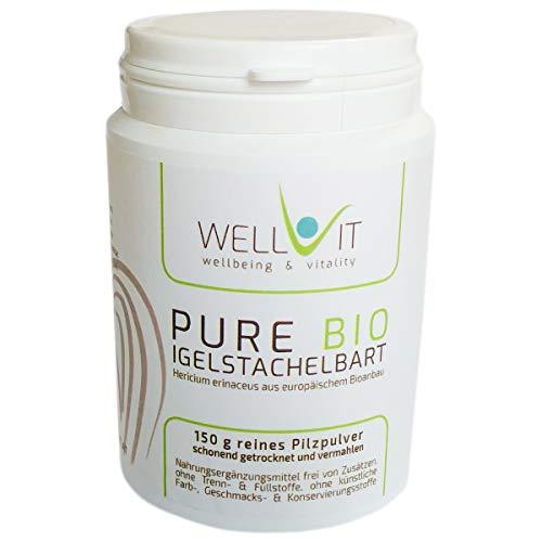 Pure Bio Igelstachelbart 150g Hericium erinaceus Vitalpilzpulver Affenkopfpilz aus EU-Bio-Landwirtschaft, vegan, ohne künstliche Zusatzstoffe