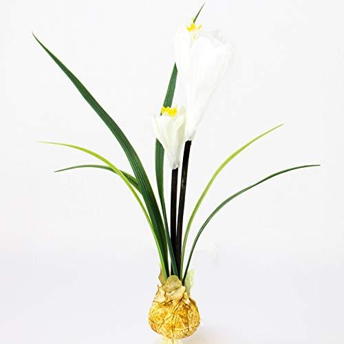 artplants.de Künstliche Krokus mit Zwiebel, 2 Blüten, weiß, 25cm - Oster Deko Blumen - Blühende Kunstpflanze