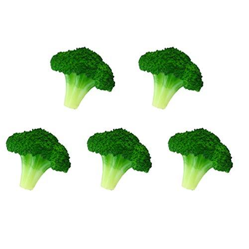 Garneck 5Pcs Künstliche Brokkoli Simulation Blumenkohl Gefälschte Gemüse Modell Kunststoffschrank Lebensmittel Display Ornament Foto Requisiten für Shop Store Mall Wohnkultur