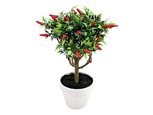 artplants.de Künstliches Chili Hochstämmchen Jacinta im Topf, rote Chilischoten, grün, 33cm - Deko Chilipflanze