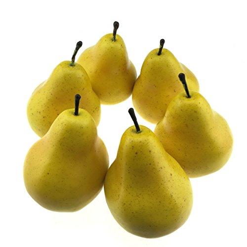 Gresorth 6 Stück Künstliche Lebensechte Birne Deko Gefälschte Früchte Obst Party Festival Dekoration