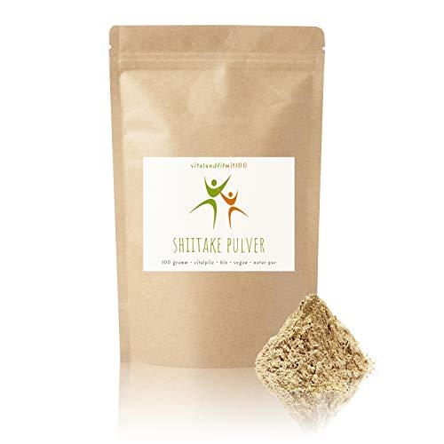 """Bio Shiitake Pulver - 100 g - Lentinula edodes - auch""""König der Pilze"""" genannt - 100% vegan und rein - in bewährter Bio- und Rohkostqualität - OHNE künstliche Zusatzstoffe"""