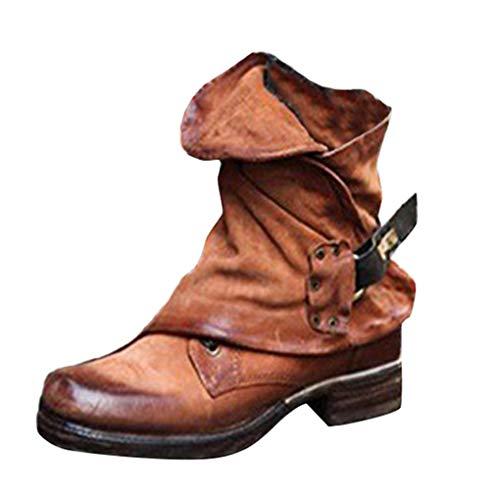 Minetom Damen Stiefel Stiefeletten Retro Ankle Boots Mode Worker Boots Leder Casual Chic Elegant Flache Schuhe Winter Herbst Khaki 43 EU