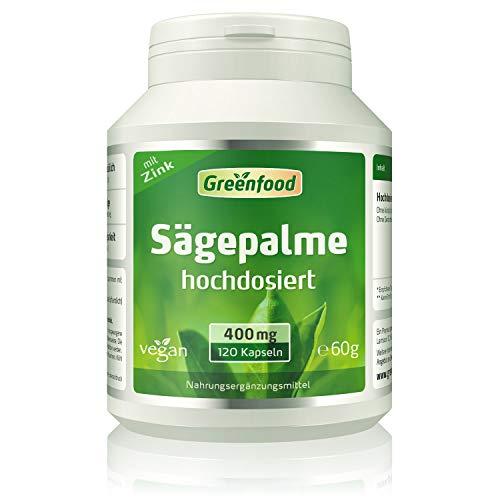 Greenfood Sägepalme, 400 mg, hochdosierter Extrakt (75%), 120 Kapseln – natürliches Mittel bei Männerbeschwerden. Hoher Anteil Phytosterole. OHNE künstliche Zusätze. Ohne Gentechnik. Vegan.