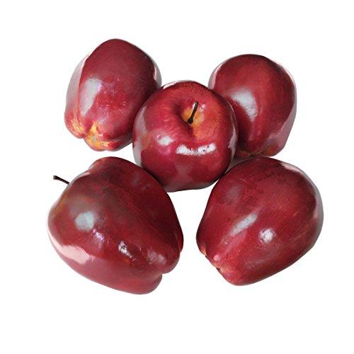 Lorigun Künstliche Äpfel gefälschte Früchte rote köstliche Äpfel für Dekoration, dekorative Frucht, Imitat große rote Äpfel 5 Stücke