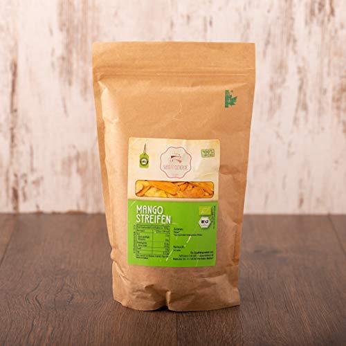 süssundclever.de®   Bio Mango, getrocknet   1 kg (2 x 500g)   hochwertiges Naturprodukt   plastikfrei und ökologisch-nachhaltig abgepackt   Mango Brooks   getrocknete Mango Streifen