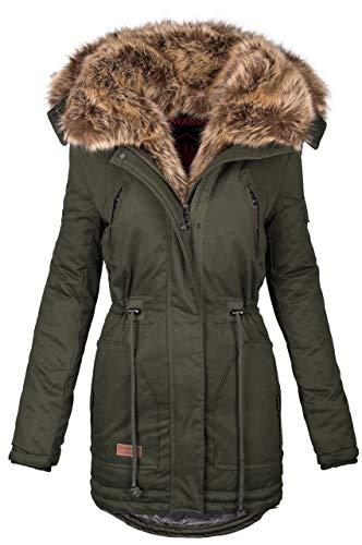 Navahoo warme Damen Winter Jacke Parka lang Mantel Winterjacke Fell Kragen B380 [B380-Grün-Gr.M]