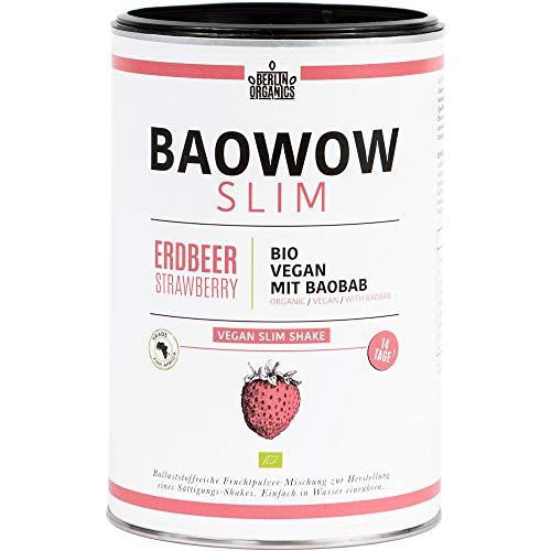 Diät Shake - Berlin Organics Baowow Slim Erdbeere - 100% Bio mit Baobab und Konjakwurzel - Ballaststoffreicher Abnehm Shake - Made in Germany