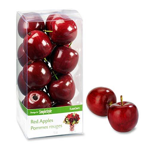 FloraCraft Kunststoff Design ES EINFACH dekorativer Fruit 15/pkg-Mini rot Äpfel