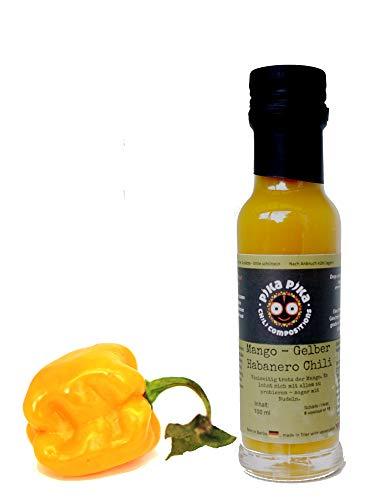 Mango Gelber Habanero Sauce - Schärfegrad: 7 von 10 (80 bis 120 Tsd Scoville geschätzt) / 100 ml. / Sehr Scharf, für echte Scharfistas! - Slow Food