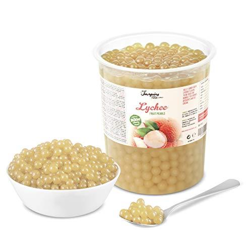 Original Popping Boba Fruchtperlen für Bubble Tea - 1 kg - Litschi / Lychee - Ohne künstliche Farbstoffe, echte Fruchtsäfte - Weniger Zucker - 100% Vegan und Glutenfrei