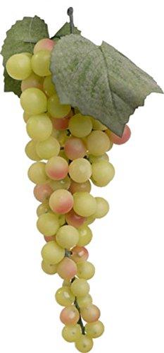 Künstlicher Weintrauben Strang mit grünen Weinbeeren und 2 Blättern. Länge 28cm