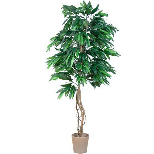 PLANTASIA® Mangobaum, Echtholzstamm, Kunstbaum, Kunstpflanze - 180 cm, Schadstoffgeprüft