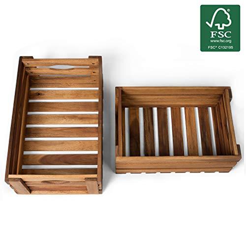 Vanage Holzkiste für Obst und Gemüse | 2er Set | Aufbewahrungskisten aus Akazienholz geölt | Kiste für den Garten, Apfelkiste oder Kartoffelkiste brauchbar in natur