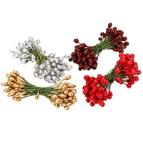 400 Stück Mehrfarbig Künstliche Holly Beeren Weihnachten Gefälschte Frucht Beeren auf 200 Stück Draht Stems für Christbaumschmuck Kranz Handwerk Verwenden Hochzeitsfest Bevorzugung