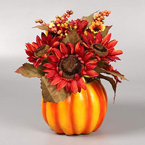 cypressen Halloween Künstliche Kürbis Dekorationen Tisch Ornamente für Herbst Dekoration Fake Kürbisse mit künstlichen Blumen für Weihnachten Haus Hochzeit Food Fotografie Prop