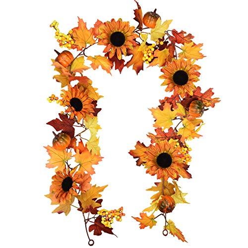 Amknn 6 füße Künstliche Ahornblatt Beeren Sonnenblume Kürbis Girlande Hängen Reben Dekoration Herbst Herbst Hochzeit Thanksgiving Wohnkultur (Ahornblatt Kürbis Girlande)
