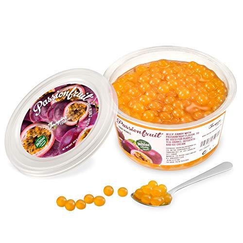 Original Popping Boba Fruchtperlen für Bubble Tea - 450g - Maracuja - Ohne künstliche Farbstoffe, echte Fruchtsäfte - Weniger Zucker - 100% Vegan und Glutenfrei