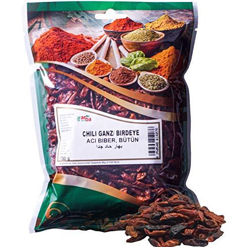 Arba Gewürze - Chili (ganz & mit Kernen) 250g - getrocknete rote Chilischoten mit Saat zum intensiven Würzen, Scharfmacher, feurig scharf, Premium-Gewürz zum Kochen