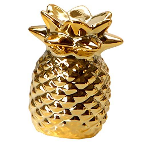 Hellery Modern Ananas Skulptur Deko Obstfigur Dekoananas Gold Kunstobst, 2 Größe Auswahl - L