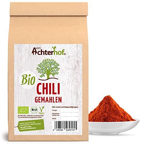 Chili Pulver BIO (500g) rot scharf aus getrockneten Chilischoten fein gemahlen Chilipulver vom-Achterhof