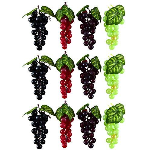 WEFOO Künstliche Weintrauben aus Kunststoff, 12 Stück, künstliche Weintrauben