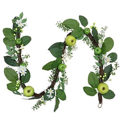 Valery Madelyn Blumengirlande Frühlingsdeko 1.83M Künstliche Girlande mit Grüne Äpfel und Blätter Rattan Simulation Hängende Gefälschte Reben für Zuhause Dekoration Zum Muttertag MEHRWEGVERPACKUNG