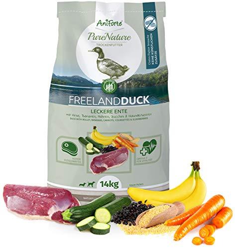 AniForte Natürliches Hunde-Futter Trockenfutter Free-Land-Duck 14kg - Leckere Ente 100% Natur für Allergiker, Glutenfrei, Birnen, Bananen, Möhre, Ohne Chemie, künstliche Zusätze & Vitamine