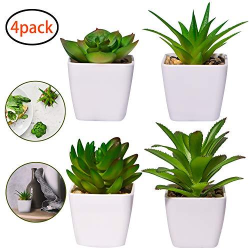 4 Stück Kunstpflanze Kunstpflanzen im Topf Künstliche Sukkulenten Tischdeko Haus Balkon Büro Deko MEHRWEG