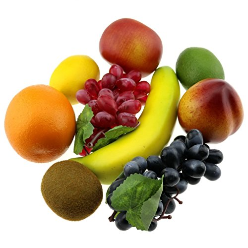 Gresorth Künstliche Früchte Fälschen Apfel Banane Orange Zitrone Pfirsich Traube Kiwi Dekoration - 9 Stück