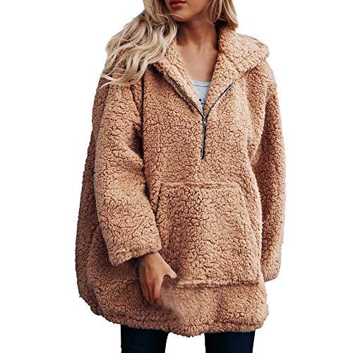 NPRADLA 2020 Herbst Lose Damen Sweatshirtjacke Winter Elegant Langarm Frauen Mantel Jacke Outwear Wolle Warme Künstliche Mit Kapuze Reißverschluss Parka Oberbekleidung