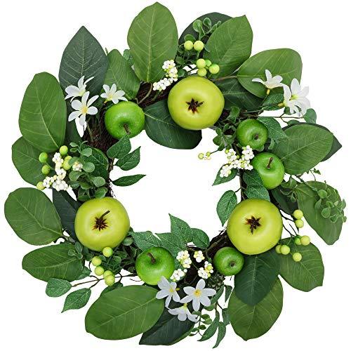 Valery Madelyn 40cm Türkranz mit Grüne Äpfel und Blätter Künstlicher Türkranz Dekokranz Wandkranz Frühlingsdeko Wanddeko Tischdeko Frühlings- und Sommerkranz Zum Muttertag MEHRWEGVERPACKUNG