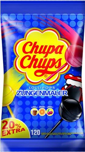 Chupa Chups Zungenmaler Lutscher, Nachfüllbeutel 120 Stück: 20% extra, Färben die Zunge, ohne künstliche Farbstoffe