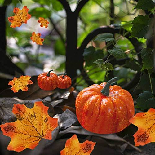 Ablerfly 42PCS Künstliche Kürbisse Mini Gefälschte Kürbisse mit Ahornblatt für Halloween, Herbst und Thanksgiving Dekorieren Professional