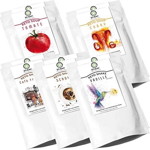 KetoMeals Proben Paket Keto Shakes & Soups, Ketogene Diät, Low Carb Ernährung, Fasten | 10er Set, Probierpaket