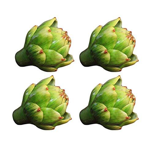 """Lorigun 3,5"""", künstliche Artischocke, künstliches Gemüse, künstliche Plastikblume, Polyethylenblume, Inneneinrichtungen, Blumenschmuck, Weihnachtsdekoration, Herzstück, 4 Stück (grün)"""