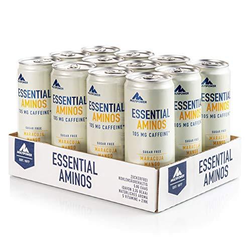 Multipower EAA Essential Amino Acids Energy Drink, erfrischendes Sportgetränk mit Energy-Boost, zuckerfreies Erfrischungsgetränk mit Aminosäuren, Vitaminen und Zink, Maracuja Mango, 12 x 330 ml