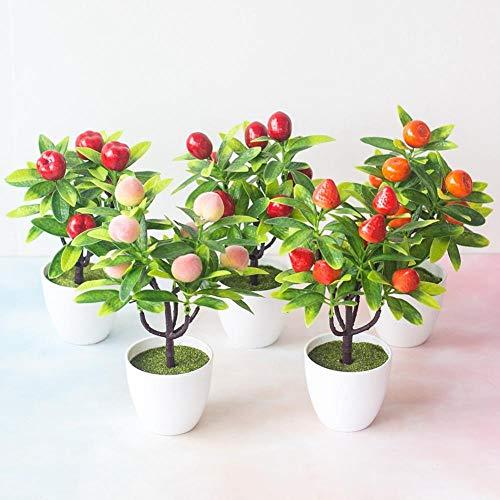 HJUK Künstlicher Obstbaum, für Zuhause, Büro, Schreibtisch, Bonsai-Dekoration Yellow Cherry Tomate