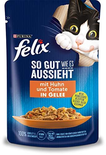Felix Katzennassfutter So gut wie es aussieht in Gelee mit Huhn und Tomate 24x 85 g Portionsbeutel