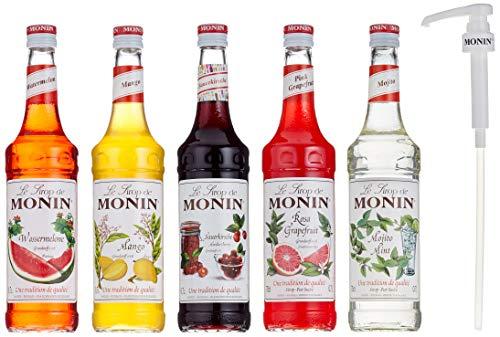 Monin Cocktail-Set 5+5, Sauerkirsche, Mojito Mint, Wassermelone, Mango, Pink Grapefruit - Sirup für Cocktails mit Pumpe, 1er Pack (1 x 3.5 l)