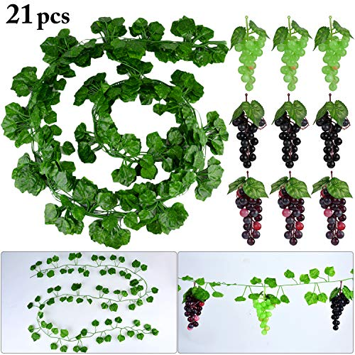 outgeek 12 Strings Künstliche Reben Gefälschte Weinblätter Greenery Vine mit Künstlichen Trauben (21PCS)