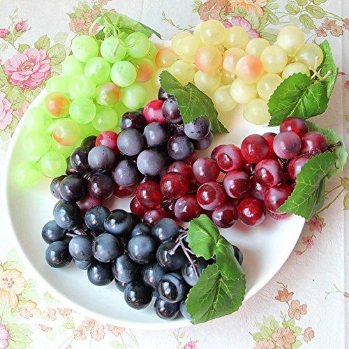 HANSHI Künstliche Weintrauben, künstliches Obst für Küche, Büro und als Fotorequisit, Grün, Gelb, Rot, Schwarz, 4Stück 4 Farben