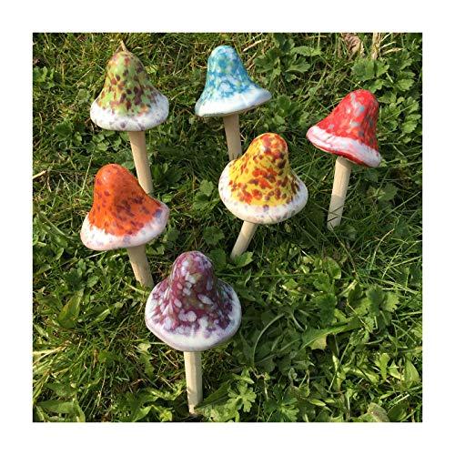 Bobble Top Fliegenpilz Keramik Ornaments Set von 6Garten Decor Pilze perfekt für Fairy Gärten