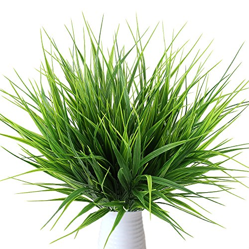 MIHOUNION 4 Bündel Kunstpflanzen Gesamthöhe ca 36,5 cm Dekogras Immer Grün Künstlicher Grasbund für Innen Ourdoor House Garten Perfekte Dekor